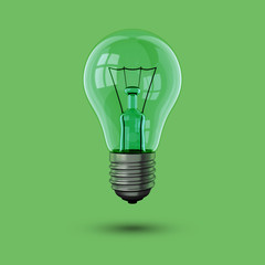 Glühbirne grün schwebend