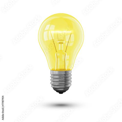 Leinwanddruck Bild Glühbirne hell auf weiss