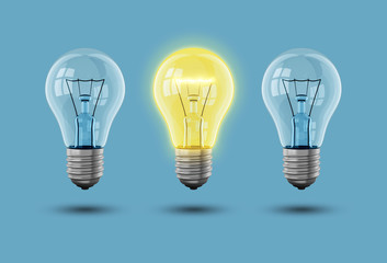 Idee Glühbirne mit Hintergrund