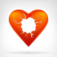 red heart with cracked hole as text space template design