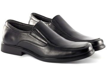 Modern black leather shoes for male or men, no string isolated o