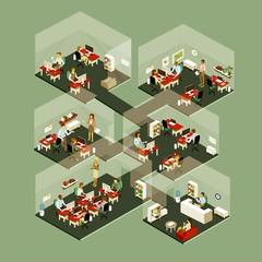 Isometric Office People vectorflat illustration