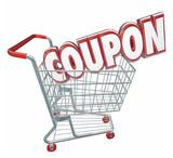 Coupon 3d Word Shopping Cart Spending Less Saving Sale poster