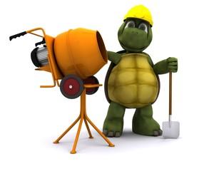 tortoise builder with cement mixer