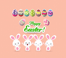 Happy Easter and bunny greeting card