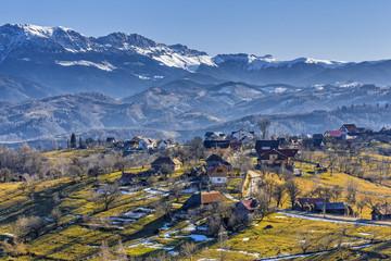 Countryside mountain landscape, Pestera village, Romania