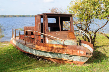 Old rusty motorboat
