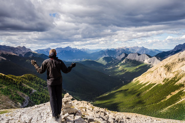 Man enjoying view of Jasper NP mountain range