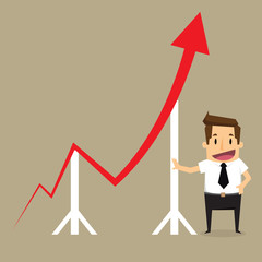 Concept of crisis problems with businessman that helps statistic
