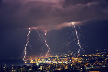 Beautiful lightning at night