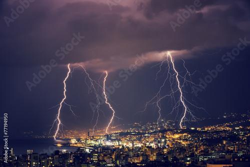 Beautiful lightning at night - 77194950
