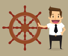 Businessman control henchman with as control steering the boat