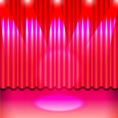 A theater stage with a pink  curtain and a spotlight. Vector.