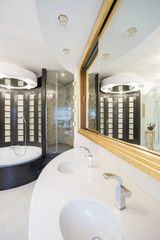 Shining bathroom interior