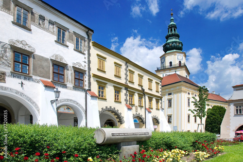 Leinwanddruck Bild Kromeriz castle (UNESCO) and square, Moravia, Czech republic
