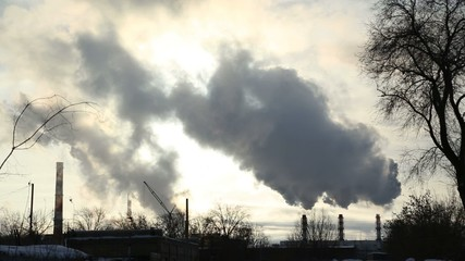 The smoke comes from the chimneys in winter, timelaps