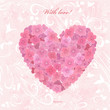 Invitation card with love. a flower heart of hydrangea