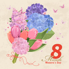 vintage invitation card with flowers bouquet. Women`s day. 8 mar