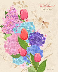 retro invitation card with flowers bouquet. with love