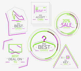 Minimal line design shopping stamps