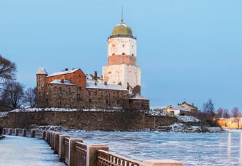 Vyborg Castle on a winter morning