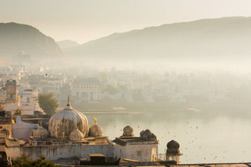 View of Pushkar City in India on a fog morning
