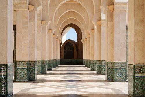 Morocco. Arcade of Hassan II Mosque in Casablanca Poster