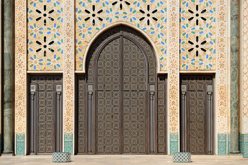 Morocco. Detail of Hassan II Mosque in Casablanca