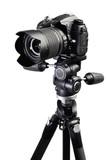 DSLR black camera on tripod