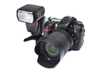 DSLR camera and flash