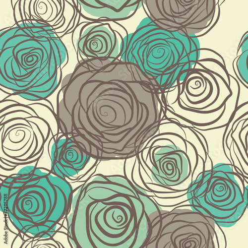 Seamless pattern with flowers roses vector © ku4erashka
