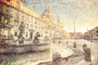 Piazza Navona, Rome. Italy. Picture in retro style.