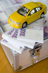 Czech money - banknotes in a case - new car