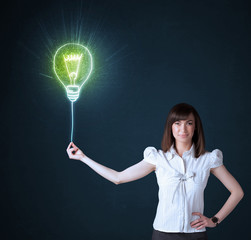 Businesswoman with an idea bulb