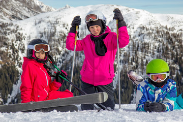 Girls on the skiing