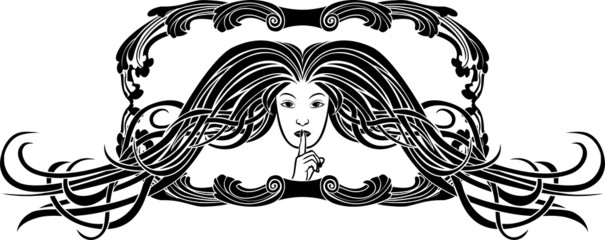 Symbol of silence, girl pressing a finger to her lips
