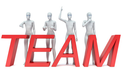 Group of 3d people standing next to the word team. 3d image