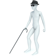3D blind man walking with a cane