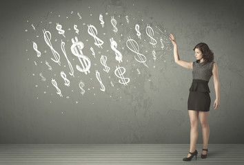 Young business people with hand drawn dollar signs
