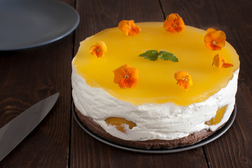cake with jelly and peaches
