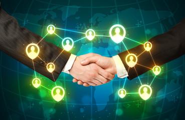 handshake, social netwok concept