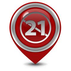 21 pointer icon on white background