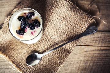 Serving of frozen creamy ice yoghurt  with fresh mulberry.