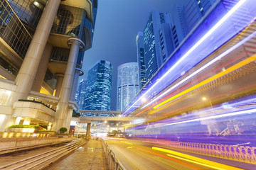 Traffic in the financial district of Hong Kong at night