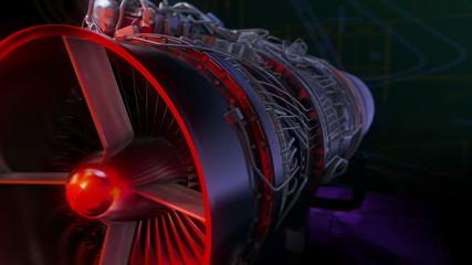 Turbojet Engine Black Glamour Red Jet