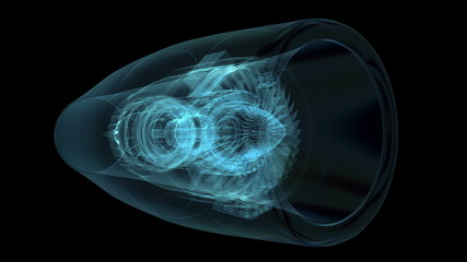 Jet engine 3D x-ray blue transparent isolated on black