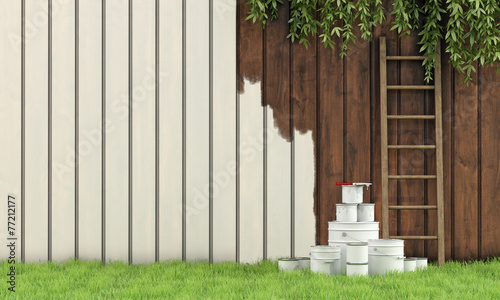 Painting the garden fence - 77212177