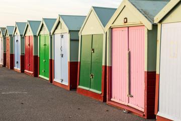 Beach huts in autumnal light