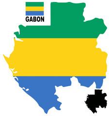 Gabon - Map and flag vector