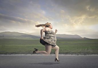 Chubby woman running